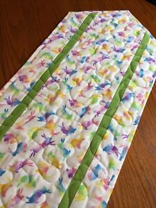 Handcrafted - Quilted Table Runner-Watercolor Bunnies, Bunnies - New 2021 Green