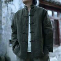 Retro Mens Cotton Linen Chinese Traditional Shirt Long Sleeve Casual Coat Ethnic