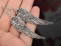 New Tibet Silver Womens Fashion Rhinestone Angel Wings Earrings Drop Dangle L7