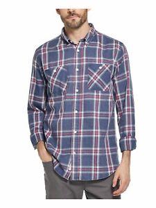 WEATHERPROOF VINTAGE Mens Blue Plaid Classic Button Down Casual Shirt M