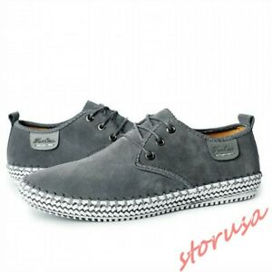 Mens Flat Casual Espadrille Lace Up Low Top Hiking Shoes Suede Shoes Breathable