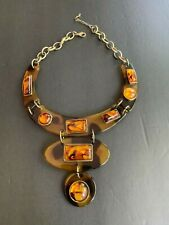 VTG Brass tone cable link chain chunky tortoise shell bib necklace 15''-18''L