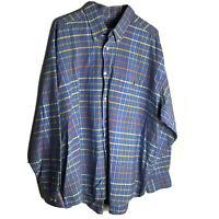 Men's 2XL Cotton Duck Head Button Down Long Sleeve Blue Striped Shirt Casual