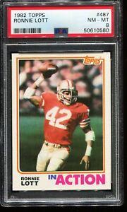 1982 Topps Football #487 RONNIE LOTT San Francisco 49ers RC ROOKIE PSA 8 NM-MT