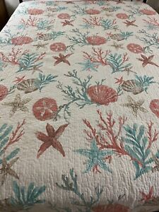 Madison Park Pacific Grove Coral Cotton Quilt 101x93 King #897