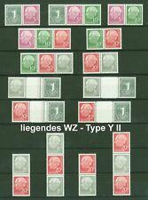 Heuss 1960 - W17 Y - S52 Y (Wz. liegend) alle 15 Zusammendrucke - Mi. 735,00 **