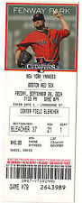 2014 BOSTON RED SOX VS YANKEES 9/26/14 TICKET STUB Rusney Castillo HR #2 LESTER