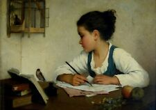 Postcard:  A Girl Writing, Goldfinch - Apples, Wildflowers, H. Brown c. 1870