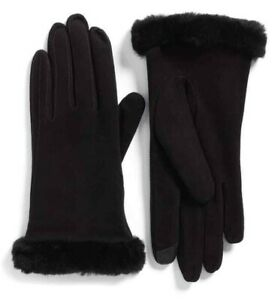 UGG Classic Suede Tech Gloves Women's Size S Black Cashmere Shearling $155 NWOT