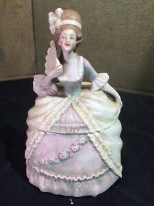 Vintage Germany Figural Powder Box Dresser Jar French Lady w/ Hand Fan