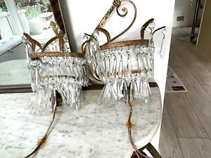 pair of antique waterfall icicle crystal wall chandeliers