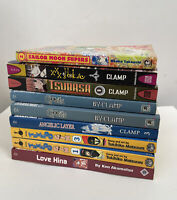 Mixed Lot Of 9 Manga - English Books-Clamp Sailor Moon Tuxedo Gin Love Hina