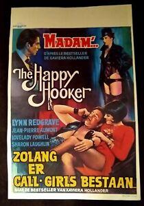 """The Happy Hooker 1975 Belgian Poster (13.5"""" x 20.5"""") Lynn Redgrave"""