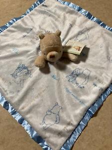 Disney Classic Winnie the Pooh Lovey Security Blanket Baby Blue Satin Trim NEW