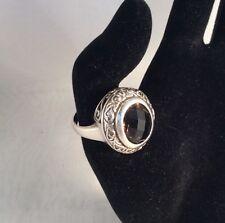 Vintage Style Ring 925 Sterling Silver Filigree Oval Chocolate Smoky Quartz