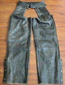 Harley Davidson MENS MED PANHEAD Distressed Leather Chaps LINED VTG 98137-94VM
