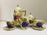 Vintage ? Childs 8 pc Tea Set  Fruit Play Tea Set Tea Party