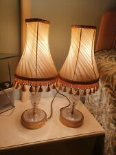 pair bedside lamps vintage retro brass crystal with tassel shade poss Waterford