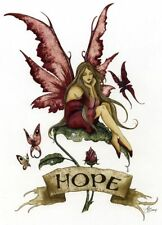 Amy Brown Print Fairy Hope Banner Rose Petal Faery Signed Autographed in Pink