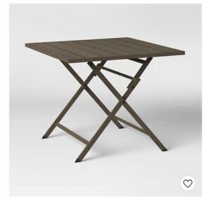 "32"" Weathered Teak Folding Patio Bistro Table - Threshold"