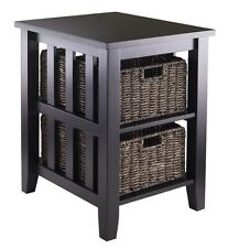 Side Table 2 Shelf End Baskets Mission Vintage Accent Storage Dark Brown  Shelves