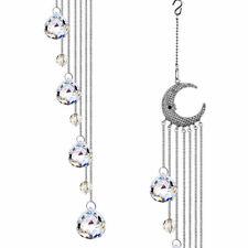 Crystal Hanging Rainbow Suncatcher with Metal Rhinestone Moon and Ball Prism