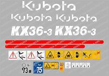 Kubota KX36-3 Mini Bagger komplette Aufkleber Satz mit sicherheit-warnzeichen