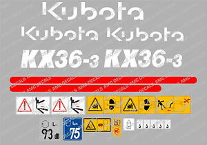 KUBOTA KX36-3 MINI DIGGER COMPLETE DECAL SET WITH SAFETY WARNING SIGNS
