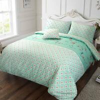 Sophie Birds Floral Print 100% Cotton Reversible Duvet Quilt Cover Bedding Set