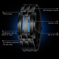 Hot Luxury Mens Date Digital LED Sport Watch Stainless Steel Bracelet WristWatch