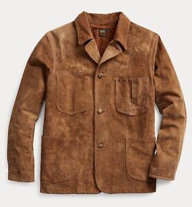 RRL Ralph Lauren Vintage Inspired Roughout Suede Coat Leather Jacket-MEN- XL