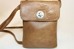Roots Womens Micro Leather Turn Lock Crossbody Travel Pouch Purse