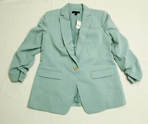 Ann Taylor Women's Ruched Sleeve One Button Blazer SV3 Blue Size 10 NWT