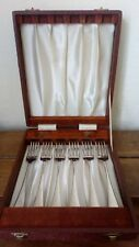 Vintage Silver Plated Fork Cutlery 6 Piece Set In Fitted Box