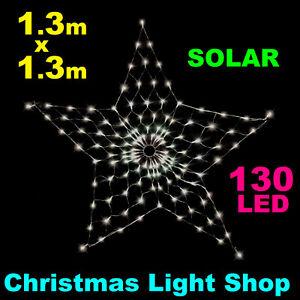 WHITE Solar LED STAR Net Light Outdoor Christmas Garden Decoration 130 x 130cm