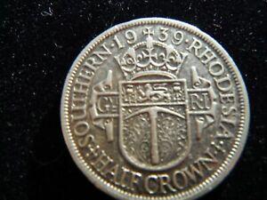 SOUTHERN RHODESIA 1939 HALF CROWN SILVER COIN-83-