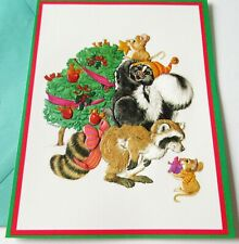 Vintage Christmas Card Linda K Powell LK Powell Raccoon Skunk Mice Star on Tree