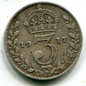 1917 Sterling Silver  Threepence WW1 Passchendaele United States Vimy Ridge C144