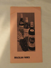 Vintage BRAZILIAN WINES Tourist Brochure by Brazilian Trade bureau New York 1961
