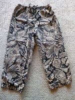 Hot Cotton Pants  Black & Tan Floral  Linen Blend   USA    M