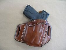 Ruger LC9 LC9s LASER 9mm OWB Leather 2 Slot Molded Pancake Belt Holster TAN RH