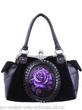 Restyle Cameo Rose Gothic Tasche Samt Handtasche Purple Victorian Violett  Bag