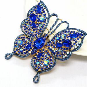 Hot Shine Blue Bling Butterfly Crystal Betsey Johnson Charm Brooch Pin Gifts