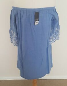 Size 12 off the shoulder top blue  white embroidery anglais elasticated BNWT
