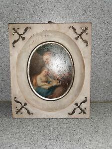 Biedermeier Gemälde Öl/Blech Hl. Anna beim Studium mit Maria, um 1830