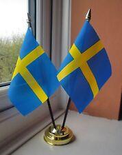 SWEDEN X2 TABLE FLAG SET 2 flags plus GOLDEN BASE SWEDISH