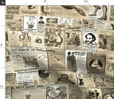 Sepia News Ads Victorian Era Steampunk Corsets Spoonflower Fabric by the Yard