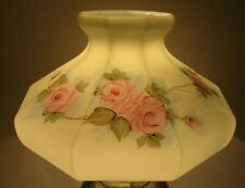 "PINK ROSE - GLASS OIL TABLE LAMP SHADE - ALADDIN RAYO COLEMAN - 10"" FITTER(89A)"