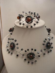 Hématite Et Carnelia Bracelet Et Ras Du Cou