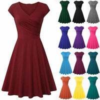 Women Summer Ruched Wrap V-neck Cap Sleeve Fit N Flare A-Line Short Swing Dress